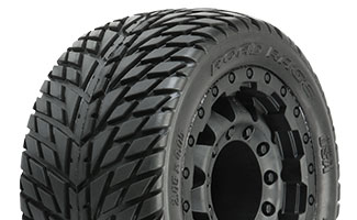 "1172-18 | Road Rage 2.8"" (Traxxas Style Bead) Street Tires Mounted on F-11 Black 17mm Wheels"